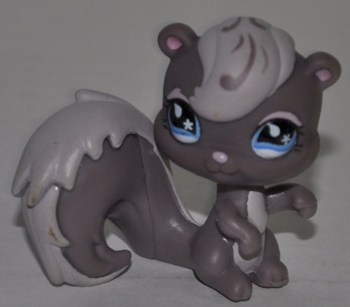 Squirrel #484 (Skunk Mold, Gray, Blue eyed) Littlest Pet Shop (Retired) Collector Toy - LPS Collectible Replacement Single Figure - Loose (OOP Out of Package & Print)