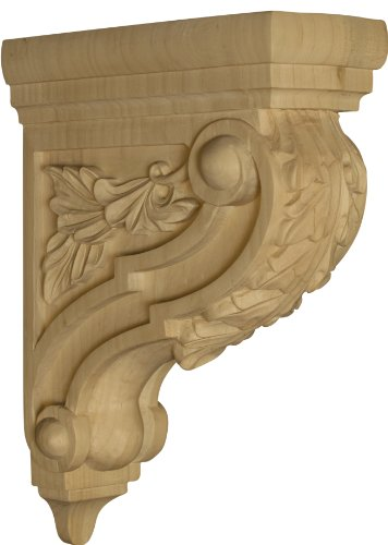 (Athens Bar Corbel with Acanthus Leaves in Rubberwood (paintgrade) - Dimensions: 12 1/4 x 3 1/2 x 8 inches)