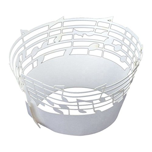 Price comparison product image TOOGOO(R) 60Pcs Lace Muffin Case Cupcake Paper Cup Liner, Music Notes Staff Pattern