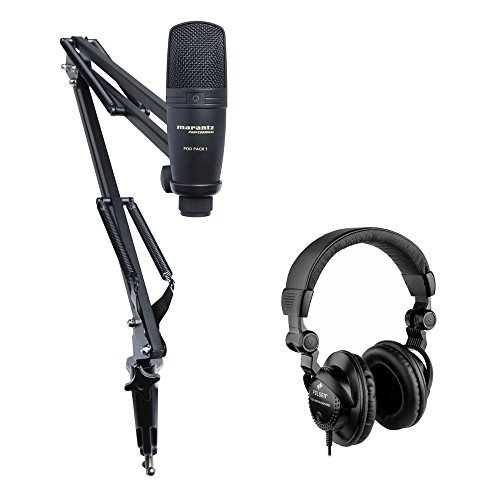 Price comparison product image Marantz Professional Pod Pack 1 USB Microphone with Broadcast Stand,  Cable Kit & HPC-A30 Studio Monitor Headphones