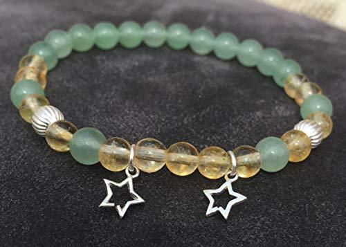 3fdd0c904fba CITRINE encanto pulsera verde aventurina y estrella de plata 925 atrae  dinero abundancia oportunidad de piedra natural semi-preciosa