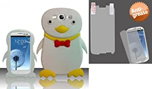 Combo pack For Samsung Galaxy S3 III i9300 - Penguin Style 1 3D Silicon Case - White SCPNG1 And MYBAT Anti-grease LCD Screen Protector/Clear for SAMSUNG Galaxy S III (i747/L710)