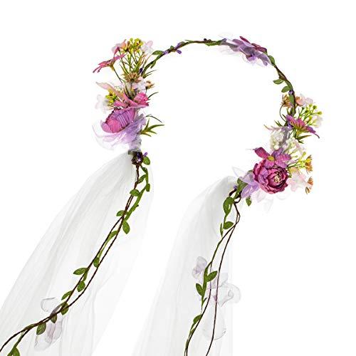Floral Fall Bridal Flower Veil Headband Floral Crown Hair Wreath Festival Halo HC-25 (Purple Daisy) (Flower Veil)