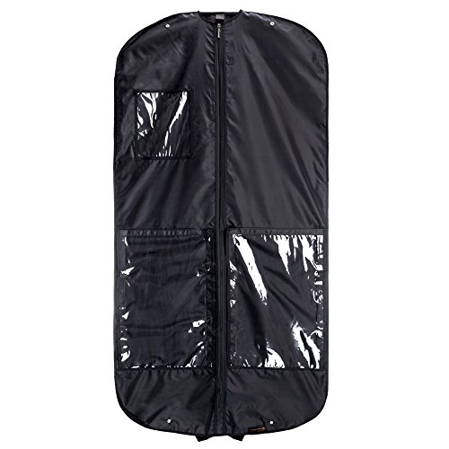 (HANGERWORLD Black 54inch Nylon Showerproof Garment Coat Clothes Cover Suit Carrier Storage Bag with Handles)
