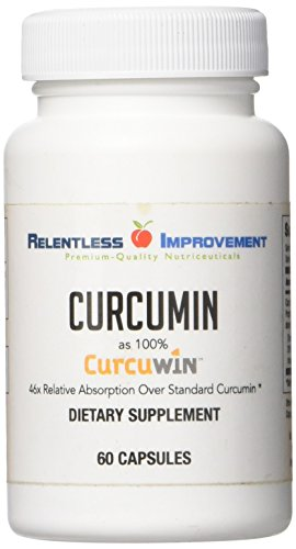 Relentless Improvement CurcuWin Curcumin Relative Absorption 46x Over Standard Curcumin NO Black Pepper