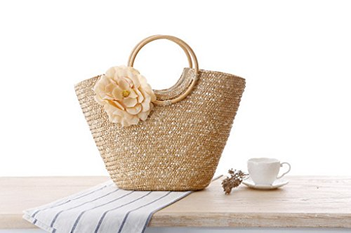 Handbag Rose Shopping Beach Beige Bag Flower Red Straw Woven Acmede Summer Women awgq5p