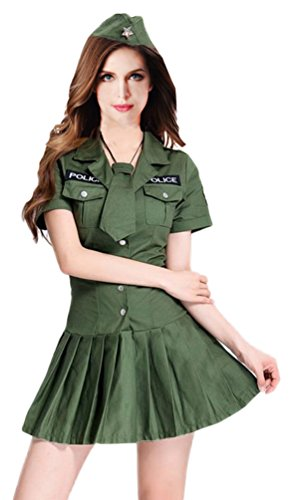 Mumentfienlis Womens Police Costumes for Halloween Officer Costume Size S Green