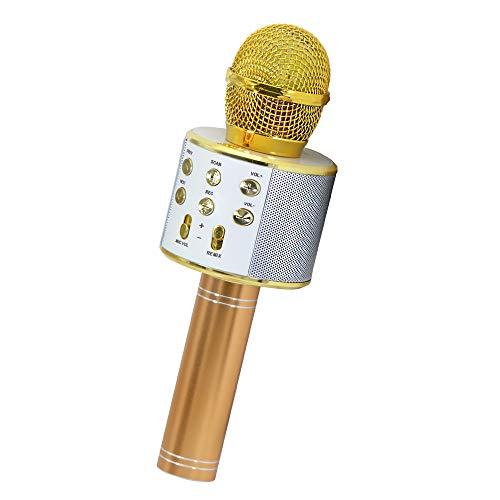 Gifts for Girls Age 3-8, Wireless Bluetooth Karaoke Microphone for Kids Boys Girls Best Popular Birthday Gifts for 6-14 Year Old Girls Toys for 5-10 Year Old Boys Gold KIBM2
