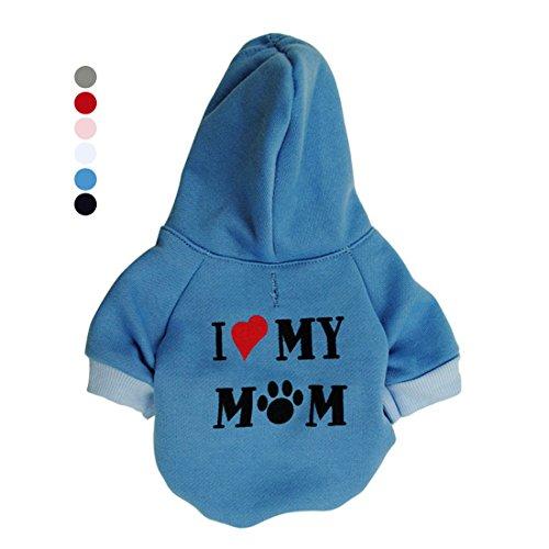 Mum Print (GabeFish Puppy Dog Slogan Hoodie Cats Spring Fleece Jacket I Love My Mum Print Cute Pets Small Animal Sweatshirt Coat Blue Large)