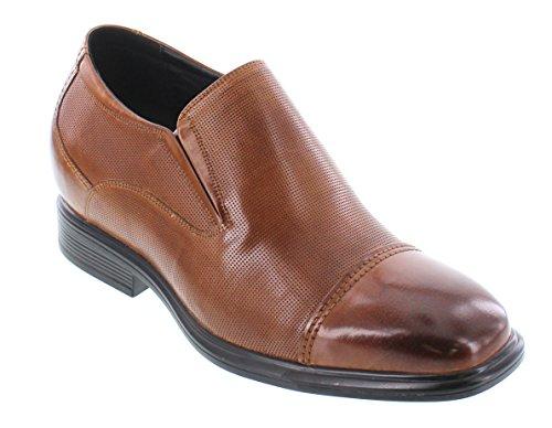 Calto Y3106-3 Pouces Plus Grand - Hauteur Croissante Chaussures Ascenseur - Cuir Marron Glissement Sur Les Chaussures Habillées