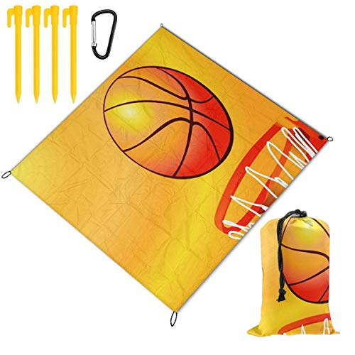 Basketball Art Waterproof Picnic Blanket Lawn Blanket Sandproof Beach Blanket Travel Tent BBQ Mat Camping Tote Layers Portable Family Size Handy Mat 59 x 57 inch (Dora Travel Potty Seat)