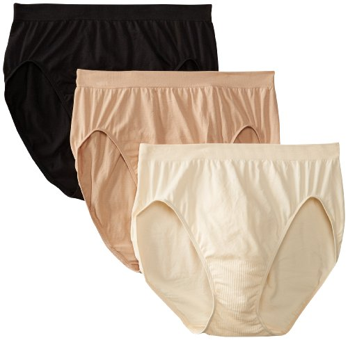 Bali Women's 3 Pack Comfort Revolution Hi-Cut Panty, Light Beige/Nude/Black, 10/11 (Bed Bali)