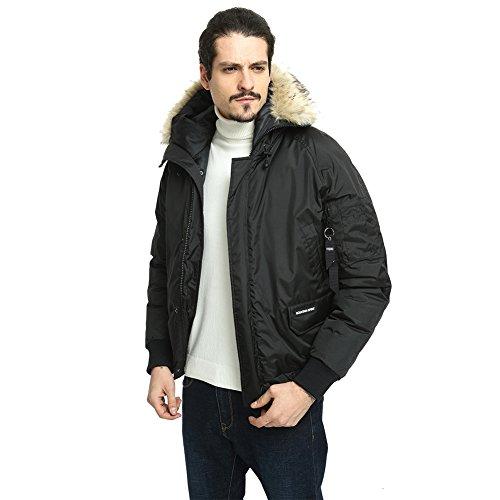 PUREMSX Vintage Flight Jacket, Faux Fur Military Warm Hooded fleeze Trimmed Hood Ski Jacket Cold Weather,Black by PUREMSX