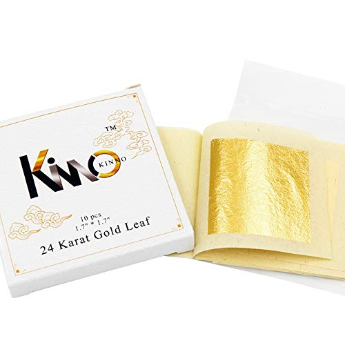 (KINNO Edible Gold Leaf Sheets 10 Sheets 4.33 x 4.33 cm 24K Pure Genuine Facial Gold Foil for Cooking, Cakes & Chocolates, Decoration, Health & Spa)