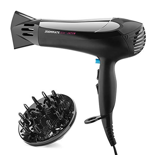 Professional Hair Dryer ZOOMMATE 1875W DC Motor Negative Ions Blow Dryer, with Concentrator & Diffuser,2 Speed & 3 Heat Setting, Safety Protection, ETL Certified