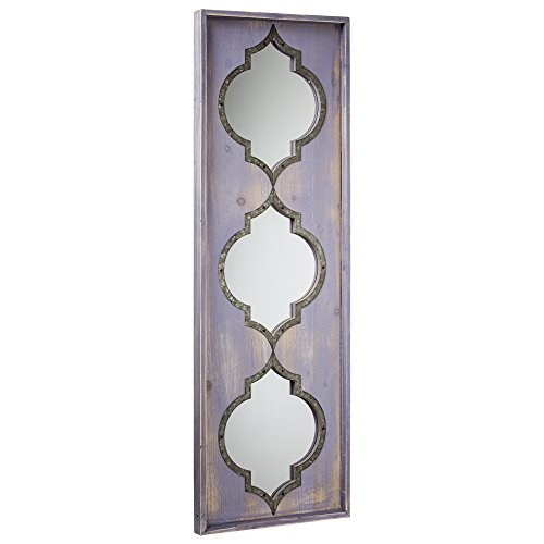American Art Decor Whitewashed Wood Wall Vanity Accent Farmhouse Mirror 36.5 H x 12.25 W x 1.25 D