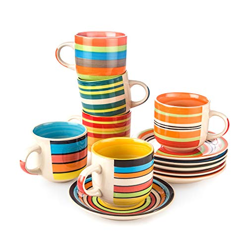 Coffee Mugs set of 6 Colorful, Ceramic Coffee Cups Large Handles Hand painted for Family Customer 12oz