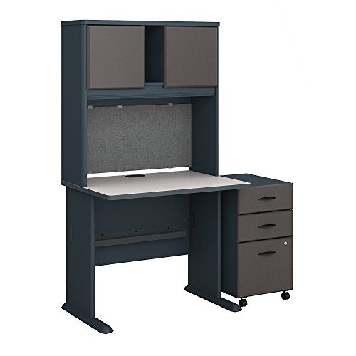 Bush Business Furniture Series A 36W Desk with Hutch and Mobile File Cabinet in Slate and White Spectrum