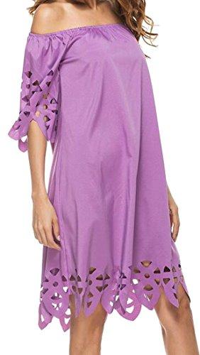 Cromoncent Des Femmes De L'épaule Occasionnel De Manches Courtes Robes Amples Creux Violets