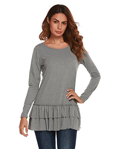 Easther Women's Casual Long Sleeve O Neck Ruffle Top Shirt Loose Pleated Flounce (Pleated Flounce)