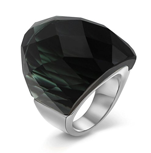 (VNOX Womens Mens Fashion Stainless Steel Ring Super Sized Black Crystal Ring,Size 7)