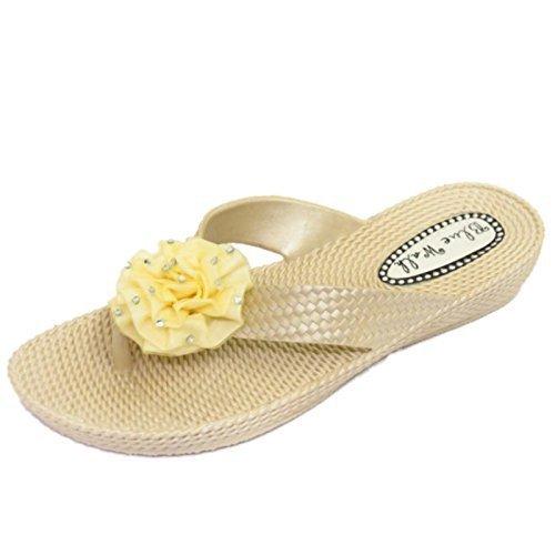 HeelzSoHigh Damen Flach Beige Zehensteg Riemen Sandalen Flip Flop Strand Blume Keilabsatz Schuhe Größen 3-8 - Beige, EU 39