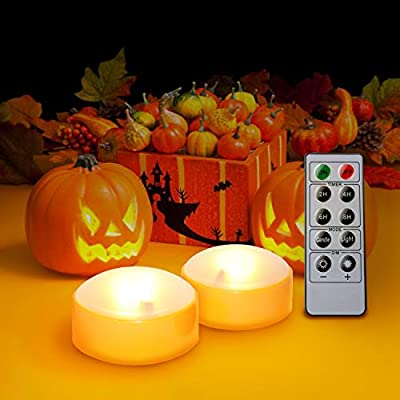 2 Pack Jack-O-Lantern Halloween Party Decorations,Orange Color LED Pumpkin Lights with Remote and Timer Battery Operated Bright Flickering Flameless Candles for Pumpkin Decor