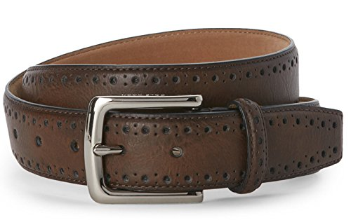 Haan Cole Chocolate (Cole Haan CHDM31039 Chocolate Brown Perforated Trim Belt (38))