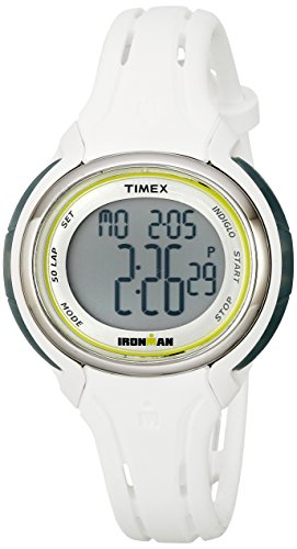 Timex Women's TW5K907009J Ironman Sleek 50 White Silicone Strap Watch (For Ironman Watch Girls Timex)