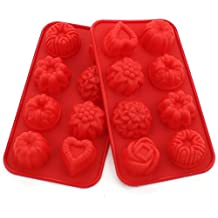 Zicome Silicone Bath Bomb Soap Making Mold, Red, Set of 2, Flower and Heart Shape