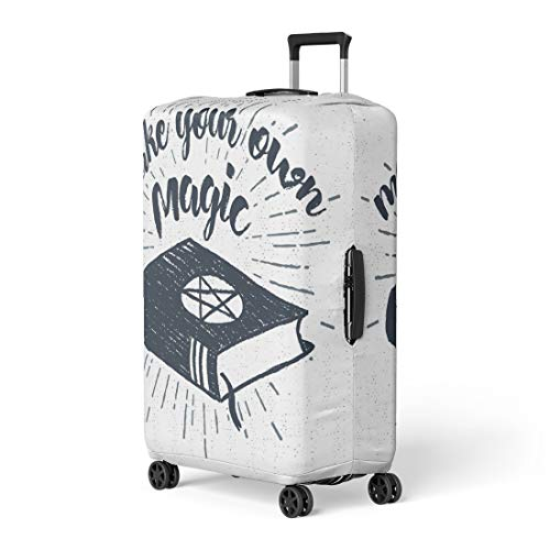 Pinbeam Luggage Cover Halloween Label Spells Book and Make Your Own Travel Suitcase Cover Protector Baggage Case Fits 18-22 -