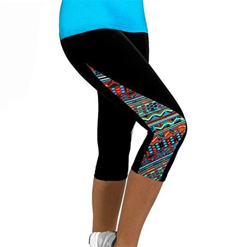 Women Slim Pants, Summer Ladies Floral Sports Yoga Fitness Leggings Gym 3/4 Cropped Trousers (M, Multicolor) -