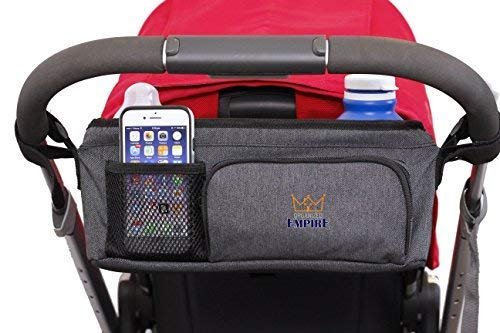 Stroller Organizer with Cup Holder, Carry Handle + STROLLER BAG HOOK! Unique collapsible design Stroller Caddy & rigid top means it WONT SAG & LOSE SHAPE like other baby organizer stroller accessories by Organized Empire (Image #7)
