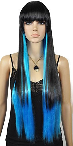 28 Inch Long Straight Blue Black Wigs Cosplay Party Wigs For Women Rapunzel Wig Drag Queen Wigs Vogue Wiginway (Vogue Queen)