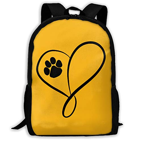 Cat Dog Paw Prints Heart Lightweight Packable Backpack for Women & Men, Foldable and Handy for Camping Outdoor Sports Black -