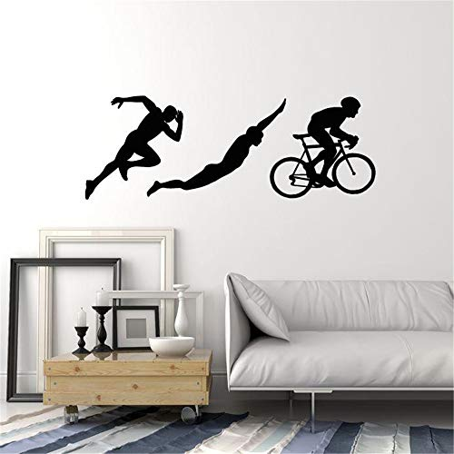 (smalop Vinyl Removable Wall Stickers Mural Decal Art Triathlon Sports Silhouettes Athlete Running Swimming Cycling)
