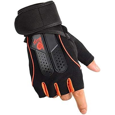 Half Finger Fitness Gloves Outdoor Riding Gloves Training Non-slip Gloves Adjustable Wristbands FKMYS Color Orange Estimated Price -