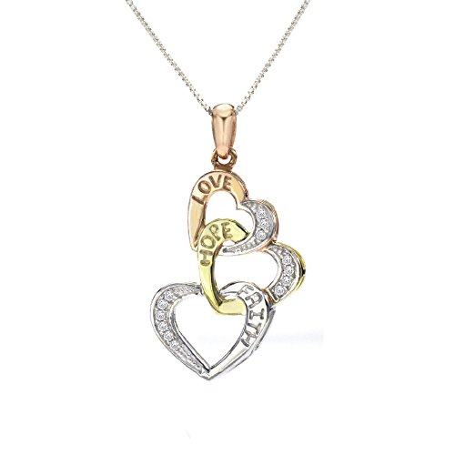 - BLOWOUT SALE City of Hope Faith, Hope and Love Sterling Silver Diamond Triple Heart (1/10ctw) Pendant