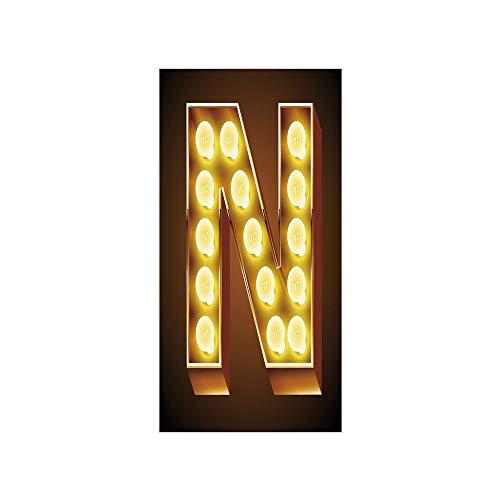 (Decorative Privacy Window Film/Language Alphabet Symbol Vegas Vintage Design Typography Art Inspiration Decorative/No-Glue Self Static Cling for Home Bedroom Bathroom Kitchen Office Decor Yellow Amber)