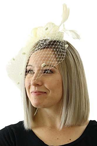 The Pink Palm Tree Catherine Ladies Sinamay Fascinator Hat With Hair Clip With Polka Dot Veil and Feathers Tea Party Derby Wedding Accessory For Adults Women Teens (Ivory)