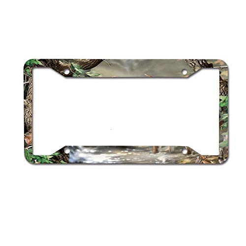 Creek Corner Deer (ASLGlicenseplateframeFG Deer Couple by The Creek in The Forest Novelty Aluminum License Plate Decorative Front Plate 6 X 12 inches 4 Holes)