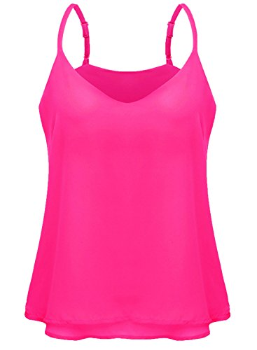 7th Element Women's Plus Size Chiffon Layered Cami V-Neck Tank Top (Rose Pink Layered)