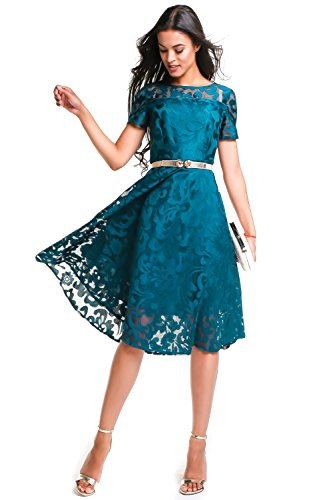 ANETTE Women Elegant Floral Lace Short Sleeve Cocktail Formal Swing Party Dresses Aquamarine Blue, Small / US 4-6