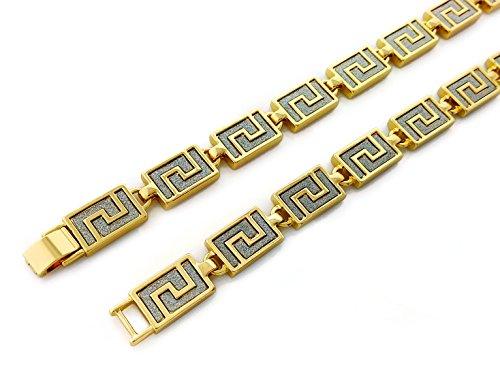 - Gold Stardust Diamond Greek Key Pattern Link 30