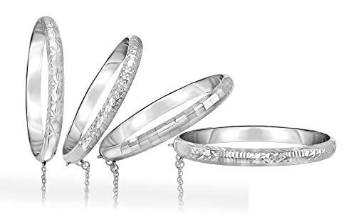 (Verona Jewelers Sterling Silver 925 7MM Diamond - Cut Bangle Bracelet- Womens Sterling Silver Bangles in 4 Styles (Cut 102))