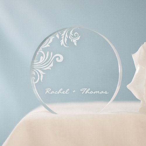 GiftsForYouNow-Floral-Round-Engraved-Cake-Topper