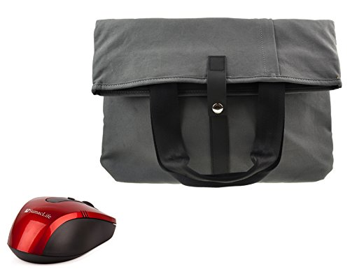 Black Red Gray Notebook Case - Folded Commuter Dual Canvas Laptop Bag with Adjustable Shoulder Strap and Handles, Multi-functional carrying case for 13.3-15 inch Laptop (Gray) + Black and Red SumacLife Wireless USB Mouse