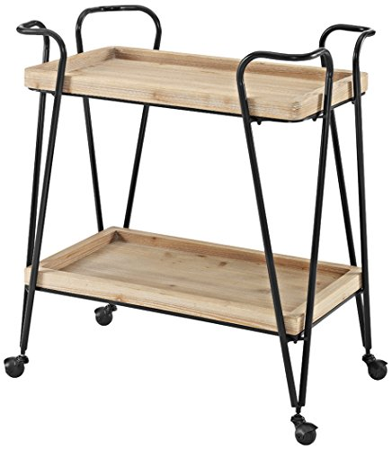 Linon AMZN0212 Judy Mid-Century Bar Cart, Black by Linon