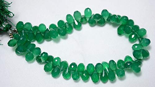 GemAbyss Beads Gemstone Green Onyx Tear Drops Beads, Onyx Faceted Cut Drops Side Drill Briolettes Gemstone for Jewelry, 6x10mm Approx, 4.5 Inch Strand Code-MVG-24840