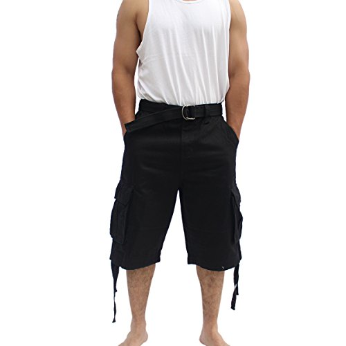 La Gate Mens Big and Tall Belted up to size 50 Cargo Short (46, Black) (Sexy Outfits For Guys)